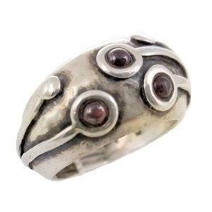 Vintage Sterling Silver Modernist Garnet Dome Ring
